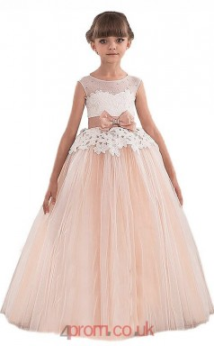 Blushing Pink Tulle Lace Illusion Short Sleeve Floor-length Princess Children's Prom Dress (FGD271)