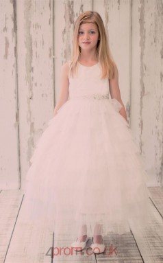 Ivory Tulle Jewel Sleeveless Ankle-length Princess Children's Prom Dress (FGD278)