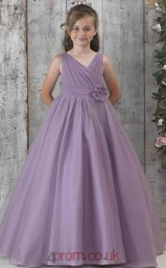 Purple Satin Chiffon V-neck Sleeveless Floor-length A-line Children's Prom Dress (FGD279)