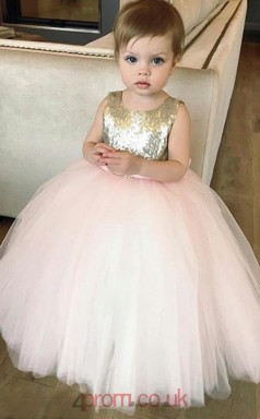 Candy Pink Tulle Sequined Jewel Sleeveless Ankle-length Ball Gown Children's Prom Dress (FGD282)