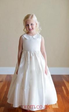 Ivory Taffeta Jewel Sleeveless Ankle-length A-line Children's Prom Dress (FGD283)