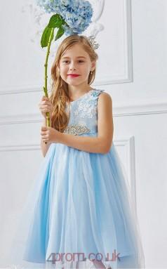 Sky Blue Tulle Lace Jewel Sleeveless Tea-length A-line Children's Prom Dress (FGD284)