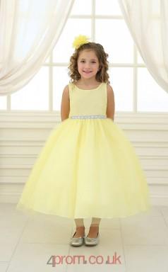 Yellow Tulle Organza Jewel Sleeveless Tea-length Princess Children's Prom Dress (FGD286)