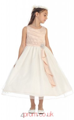 Nude Pink Satin Organza Jewel Sleeveless Tea-length A-line Children's Prom Dress (FGD287)