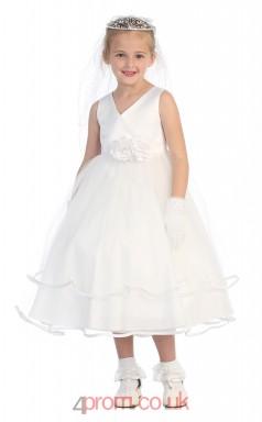 White Charmeuse Organza V-neck Sleeveless Tea-length A-line Children's Prom Dress (FGD290)