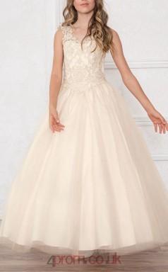 Light Champange Lace Tulle V-neck Sleeveless Ankle-length A-line Children's Prom Dress (FGD291)