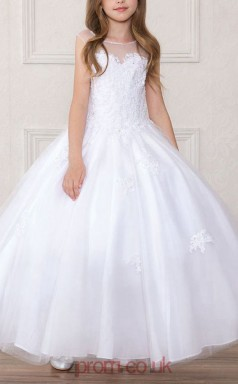 White Lace Organza Illusion Short Sleeve Ankle-length Ball Gown Children's Prom Dress (FGD292)