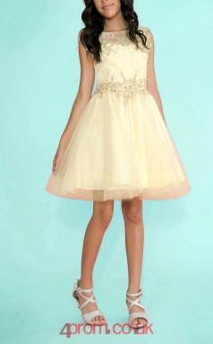 Champange Tulle Satin Bateau Sleeveless Mini Princess Children's Prom Dress (FGD295)