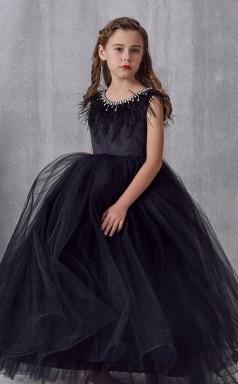 Black Tulle Jewel Short Sleeve Floor-length Princess Children's Prom Dress (FGD301)