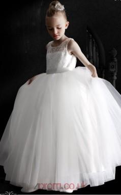 White Tulle Lace Illusion Sleeveless Floor-length Princess Children's Prom Dress (FGD302)