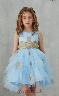 Sky Blue Tulle Satin Jewel Sleeveless Mini Princess Children's Prom Dress (FGD306)