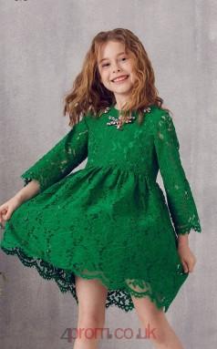 Green Lace Jewel 3/4 Length Sleeve Mini A-line Children's Prom Dress (FGD308)