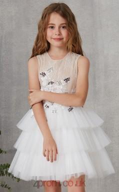 White Lace Tulle Jewel Sleeveless Mini Princess Children's Prom Dress (FGD310)