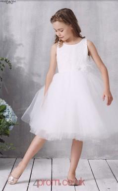 White Lace Tulle Jewel Sleeveless Knee-length Princess Children's Prom Dress (FGD319)
