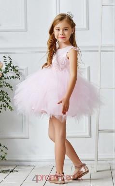 Blushing Pink Tulle Jewel Sleeveless Mini Princess Children's Prom Dress (FGD320)