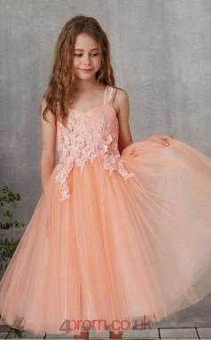 Pink Tulle Strapless Sleeveless Tea-length Princess Children's Prom Dress (FGD329)