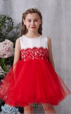 Red Lace Tulle Jewel Sleeveless Mini Princess Children's Prom Dress (FGD336)