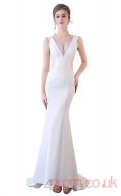 White, Black Tulle Trumpet/Mermaid V-neck Floor-length Sexy Dress(BX-G1020)