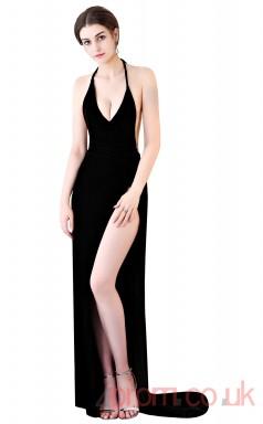 Black Satin Chiffon Trumpet/Mermaid Halter Floor-length Sexy Dress(BX-G1023)