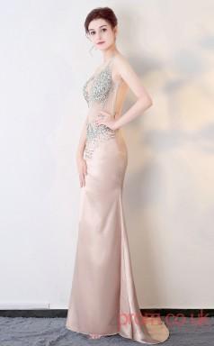 Nightclub Illusion Crystal V-neck Clubwear Dress Car Show Models BX-G560