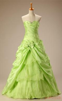 Sage Taffeta Organza Ball Gown Sweetheart Sleeveless Prom Ball Gowns(JT4-JMC70)
