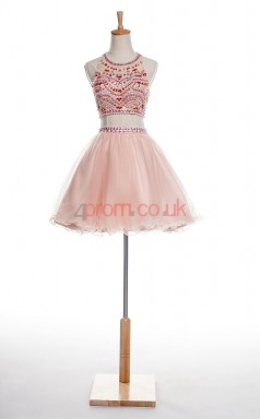 Pink Tulle Sequined A-line Halter Sleeveless Two Piece Prom Dresses(JT4-JMD0015)