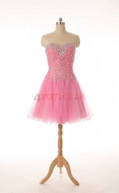 Candy Pink Lace Tulle A-line Sweetheart Sleeveless Cocktail Dress(JT4-JMD0022)