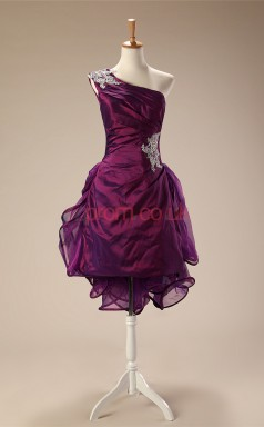 Grape Taffeta Tulle Sheath/Column One Shoulder Sleeveless Cocktail Dress(JT4-JMD119)