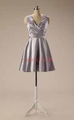 Silver Taffeta A-line V-neck Sleeveless Cocktail Dress(JT4-JMD122)