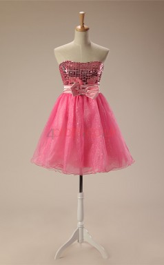 Candy Pink Taffeta Tulle A-line Strapless Sleeveless Cocktail Dress(JT4-JMD123)