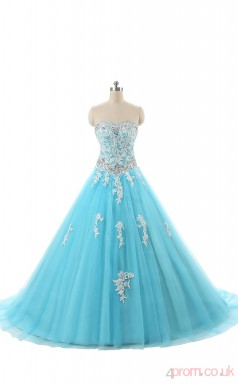 Blue Tulle Lace Ball Gown Sweetheart Sleeveless Prom Ball Gowns(JT4-JMWM001)