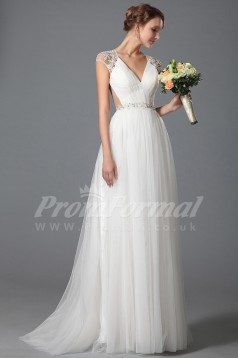 A-line V-neck Short Sleeve Sweep Train White Tulle , Lace Bridal Evening Gown (PRJT04-1814)