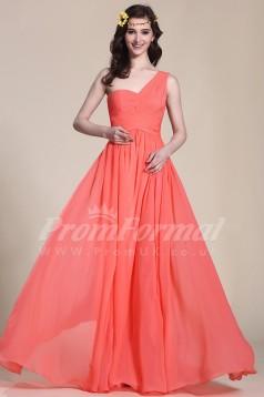 A-line One Shoulder Long Watermelon 100D Chiffon Evening Dresses(PRJT04-1825)
