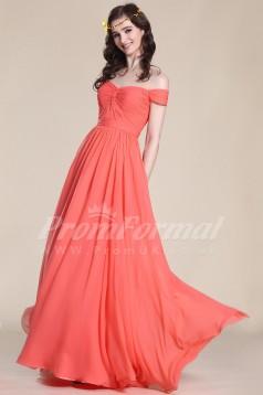 A-line Off The Shoulder Long Watermelon 100D Chiffon Evening Dresses(PRJT04-1826)