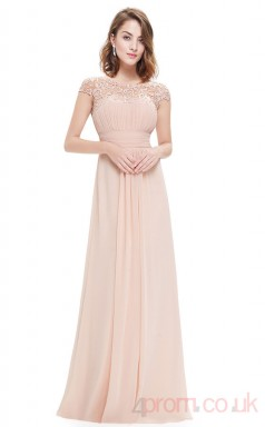 A-line Scalloped Ankle-length Pearl Pink Chiffon Evening Dresses with Short Sleeves (PRJT04-1899-H)