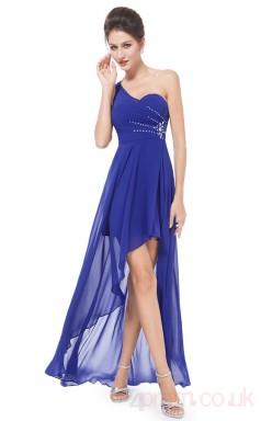 A-line One Shoulder Hi Low Medium Blue Chiffon Cocktail Dresses(PRJT04-1914-A)