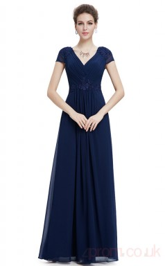 A-line V-neck Long Royal Blue Chiffon Evening Dresses with Short Sleeves (PRJT04-1921-D)