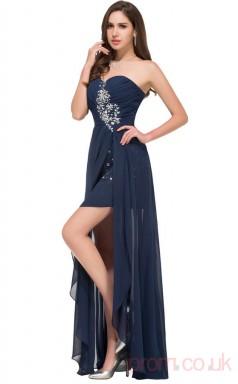 Sheath Sweetheart Neckline Hi Low Navy Blue Chiffon Prom Dresses(PRJT04-1980)