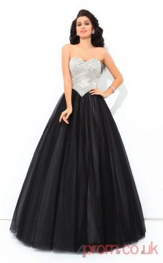 Black Tulle Sweetheart Floor-length A-line Quincenera Dress(JT2014)
