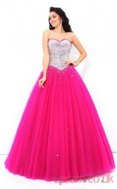 Fuchisa Tulle Sweetheart Floor-length Princess Quincenera Dress(JT2020)