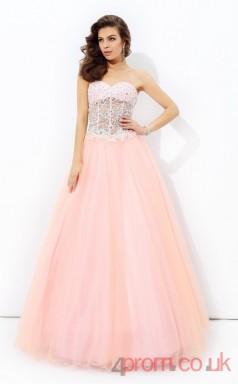 Pearl Pink Tulle Sweetheart Floor-length Princess Quincenera Dress(JT2024)