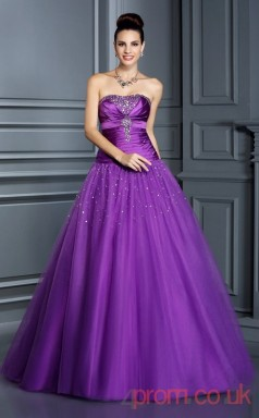 Purple Stretch Satin Tulle Strapless Floor-length Princess Quincenera Dress(JT2026)