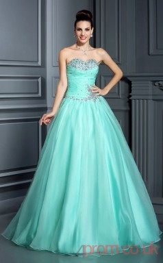 Pale Turquoise 30D Chiffon Sweetheart Floor-length Princess Quincenera Dress(JT2027)