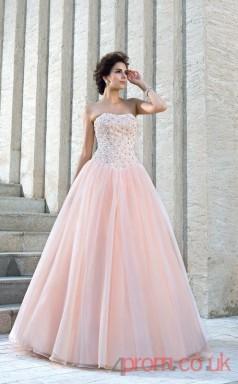 Pearl Pink Organza Strapless Floor-length Princess Quincenera Dress(JT2028)