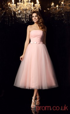 Blushing Pink Tulle Strapless Tea-length A-line Quincenera Dress(JT2034)