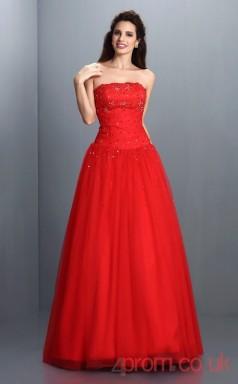 Red Organza Strapless Floor-length A-line Quincenera Dress(JT2037)