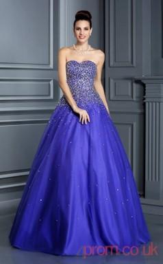 Blue Organza Sweetheart Floor-length Princess Quincenera Dress(JT2040)