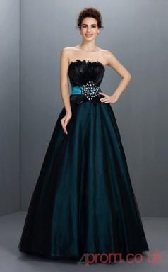 Ink Blue Organza Strapless Floor-length Princess Quincenera Dress(JT2041)