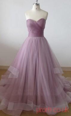 Medium Purple Tulle Sweetheart Floor-length Princess Quincenera Dress(JT2042)