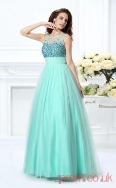 Aqamarine Tulle Scoop Floor-length Princess Quincenera Dress(JT2045)
